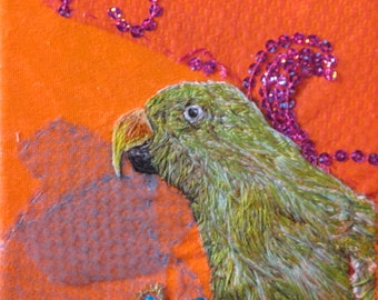 Green Parrot textile artwork