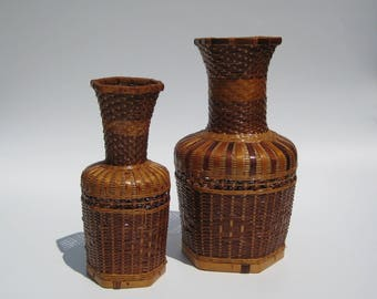 Boho Decor Basket Vases Woven Rattan Vase Pair Large & Medium Wicker Vases