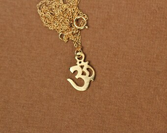 Gold ohm necklace, yoga necklace, pranava, omkara, zen necklace, silver ohm necklace