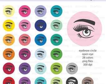 Eyebrow Icon Circle with Open Eye Digital Clipart in Rainbow Colors - Instant download PNG files - PLUS white icon
