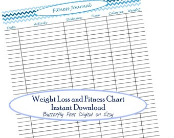 Printable Fitness / Weight Loss / Exercise Journal / Log / Chart / Letter Size 8.5 x 11, Instant Digital Download