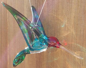 "Inspiraional Crystal Glass Humminbird ""Love"" Handmade by Studio29"