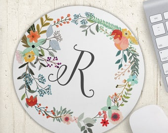 Monogram Mousepad - Personalized Gift - Office Decor - Floral Mouse Pad