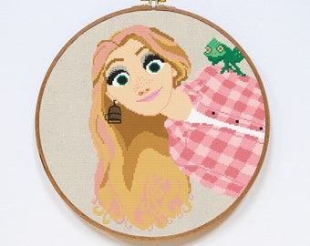Rapunzel Cross Stitch Pattern, Tangled Disney Princess Cross Stitch Pattern, Counted Easy Cross Stitch Chart, PDF Format, Instant Download