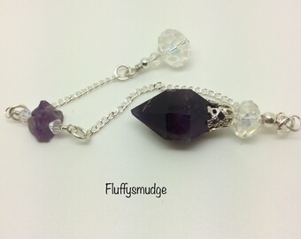 Fluffysmudge genuine gemstone pendulum with faceted amethyst nugget, rough amethyst small nugget & faceted swarovski crystal elements