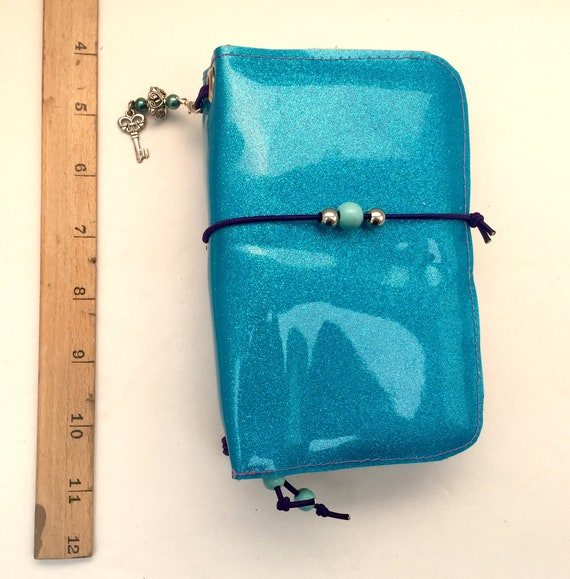 Super sparkly field notes sized refillable mermade notebook in blue, slip pockets, charms, and inserts included!