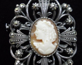 Antique cameo pin pendant=shell cameo pin pendant with marcasites=old cameo brooch with trombone clasp=