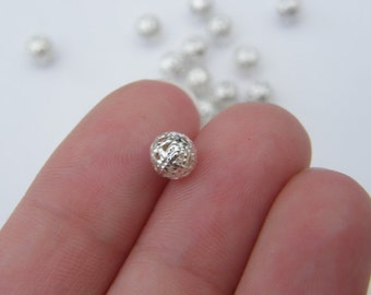 50 Spacer beads 6mm silver plated FS295