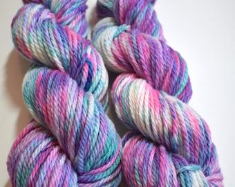 On Cloud 9 - hand dyed yarn - hand painted yarn - supwerwash merino wool - bulky weight yarn - 100 yarn skein - pink and blue yarn