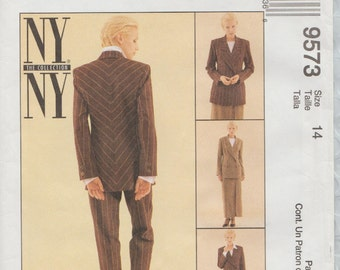 McCalls 9573 / New York Collection Sewing Pattern / Pants Trousers Skirt Jacket Suit Pantsuit/ Size 14 Bust 36