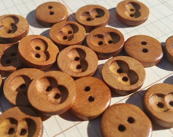 "Round Wood Buttons - Double Circle Inset - Owl Eyes - Sewing Bulk Button - 9/16"" Wide - 24 Buttons"