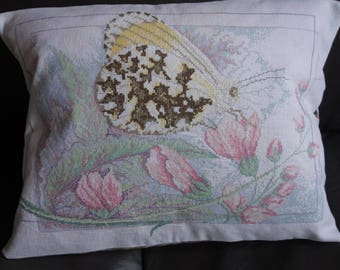 vintage hand embroidered  butterfly cushion cover 17x13 inches
