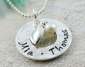 Personalized Mothers Necklace - Eternity Circle Necklace with Names - Sterling Silver Kids Name Necklace - Circle of Love - Necklace for Mom