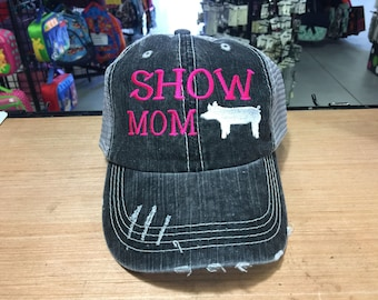 Show Mom with Pig Monogrammed Embroidered Distressed Trucker Cap Dark Gray