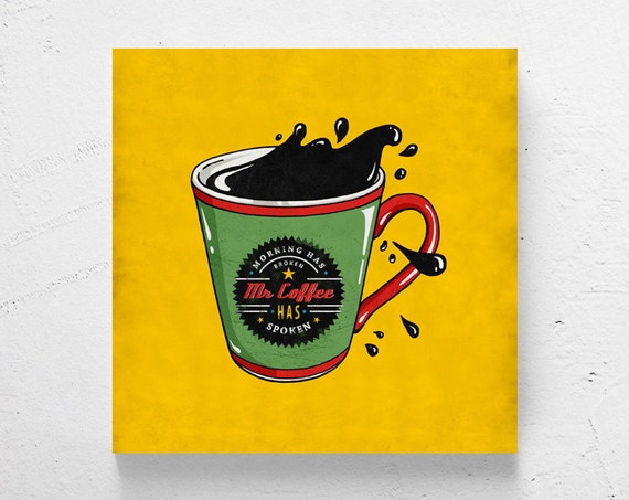 Retro kitchen art / coffee cup wall art coffee art retro