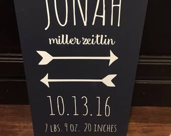 Personalized Baby Gift, Birth Stats Sign, Woodland Nursery, Baby Name Sign, Birth Stats Wall Art, Rustic, Custom Baby Gift