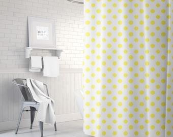 Ikat Yellow Shower Curtain, Polka Dots, Girls Bathroom Decor, Bath Curtain, Girls Shower Curtain, Standard or Extra Long