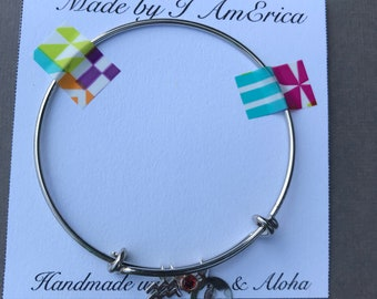 Aquarius Zodiac Charm Bangle Bracelet