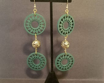 Green and Gold Long Earrings