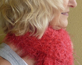 Women's red winter scarf, be the red hot mama in this grand bright red scarf, original handcrafted crochet scarf, unique Bohemian accessory