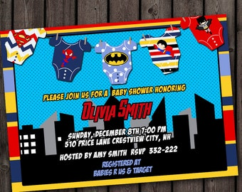 Superhero Baby Shower Invitation, Super Hero Baby Shower Invitation, Fast  Customization, Superhero Onesie