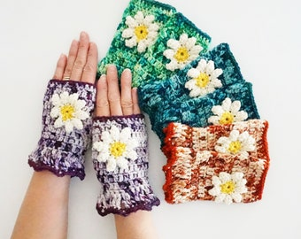 Daisy Arm Warmers in various colours to choose from blue, purple, orange and green, hand warmers, hand painted merino wool, gift for her,