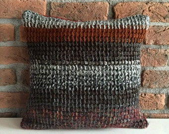 Knit Pillow Cover striped cushion pillow lumbar pillow bohemian pillow brown knit couch pillow burnt grey brown wool throw bed sofa
