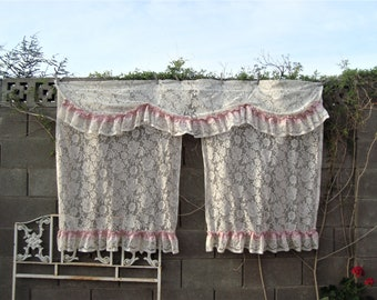 """Vintage Cream Lace Attached 2 Curtain Panels With Valance Rose Pink Trim 72"""" x 46"""""""