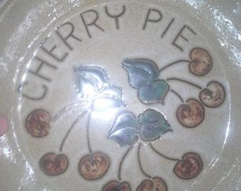 Vintage Stone wear cherry pie plate 1981