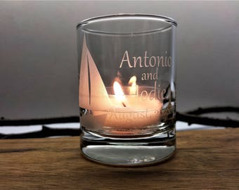 Personalized Favors Sailboat Beach Wedding Decor 72 pcs Candle Holders Nautical Engraved Glass Votive Holder Custom Wedding Keepsake Memento