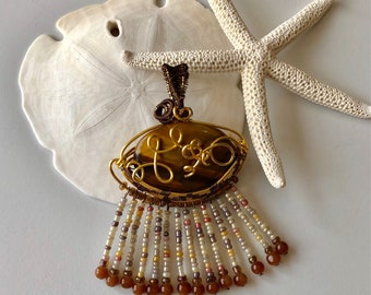 Brown and Gold Pendant with beaded fringed tassel