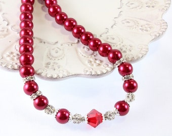 Red Pearl and Swarovski Crystal Necklace, Bridesmaid Necklace, Prom Necklace
