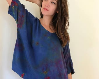 Hand Dyed V-Neck Blouse in Nightflower, Bat Wing, Anna Joyce, Portland, Or