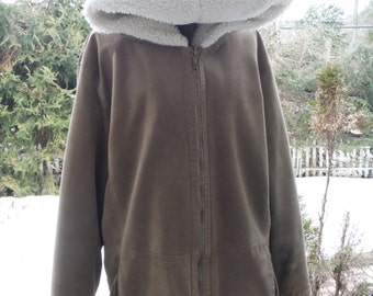 Women's St.Johns Bay Tan  Beige, Sand Hooded Washable Suede Coat
