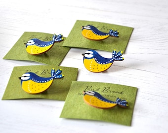 Bluetit Brooch - Wooden Bird - Wooden Brooch - Miniature Art - Handpainted Brooch - Birthday Present