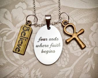 Faith Necklace, Unisex Inspirational Necklace, Faith Necklace, Believe Charm, Believe Necklace, Ankh Cross, Egyptian Cross