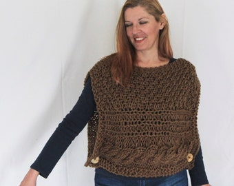 Brown poncho, sweater poncho, sleeveless sweater, chunky poncho, handknit poncho, cable poncho, buttoned poncho, sweater vest, ready to ship