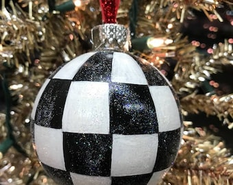 Black and White Checkered Christmas Ornament