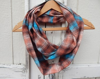 Ready to Ship Turquoise and Brown Plaid Scarf Turquoise Scarf Ladies Brown Plaid Flannel Scarf Girls Plaid Flannel Scarf