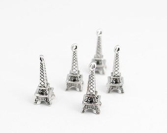 Antique Silver Eiffel Tower Charms - 10 Pieces
