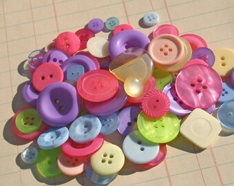 Buttons Pink Purple Green - Round Sewing Assorted Crafting Bulk Button - 100 Buttons - Candyland