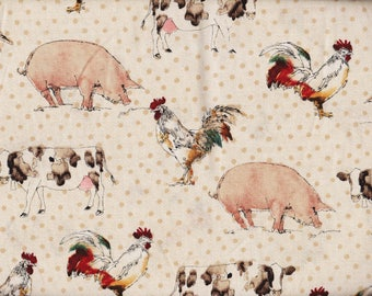 24 Inches Better on the FARM Cows, Pigs, Roosters Print 100% Cotton Quilt Crafting Fabric by the PIECE