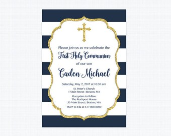 First communion invitation etsy first communion invitation boy navy blue first communion invitation navy and gold printable digital stopboris Choice Image