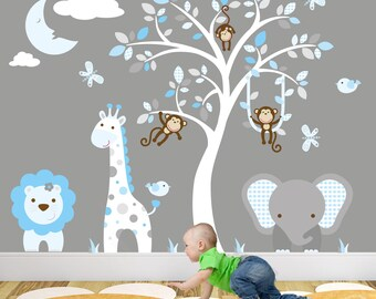 Safari Decal, Blue And Grey Nursery, Jungle Boys Wall Stickers. Swinging  Monkeys,