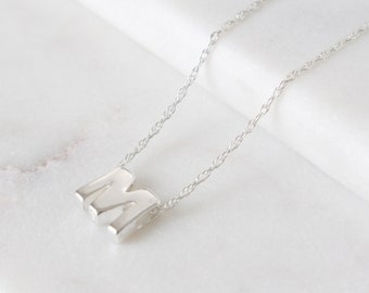 Sterling Silver Initial M Pendant Necklace • Letter Necklace • Initial Pendant • Initial Jewellery • Personalised Initial Necklace