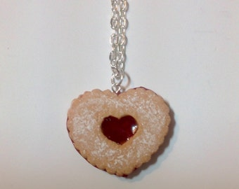 Linzer Tart Heart Cookie Charm Necklace -Faux Polymer Clay Sweets - Cute Fake Food Pendant - Dessert Jewelry