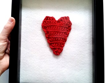 Framed wall art, heart wall art, wall hanging, nursery decor, crochet wall decor, crochet wall art, crochet wall hanging, red, gift under 30
