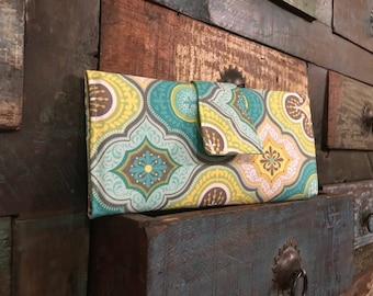 Trifold Woman's Green, Blue and Yellow Wallet