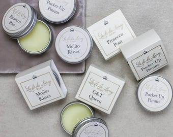 Gin & Tonic, Prosecco, Mojito Or Pimms Flavoured Lip Balm - Christmas Stocking Filler - Top Gin Gifts - Prosecco Gift -  Wedding  Favours