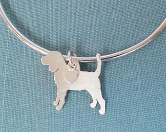 Bracelet jonc à chien Beagle, Sterling Silver personnaliser pendentif, charme de race de Silhouette, Rescue Shelter, cadeau d'anniversaire